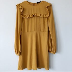 Zara Woman Mustard Yellow Long Sleeve Ruffle Dress